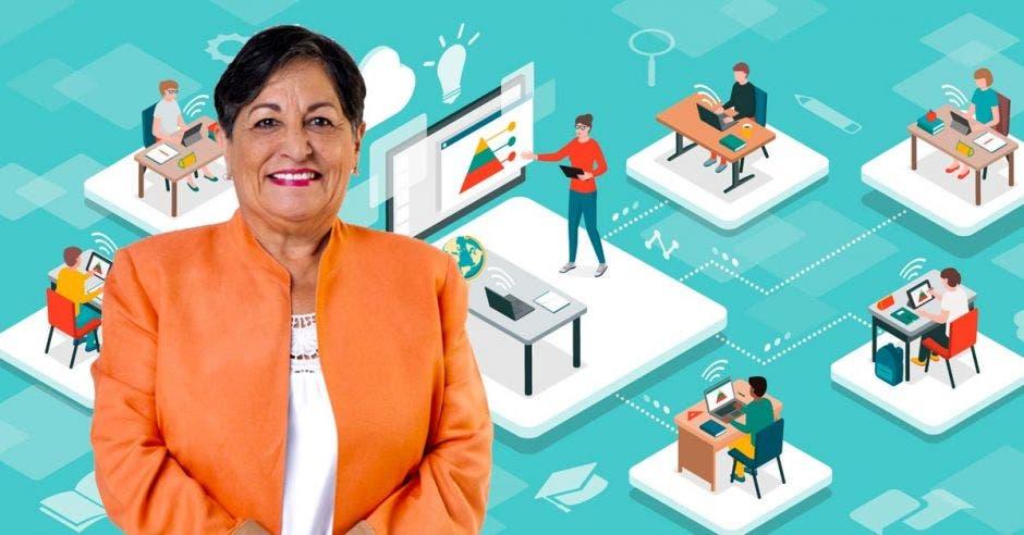 mujer de cabello corto negro, con saco naranja, de fondo dibujo de personas tomando clases por computadora