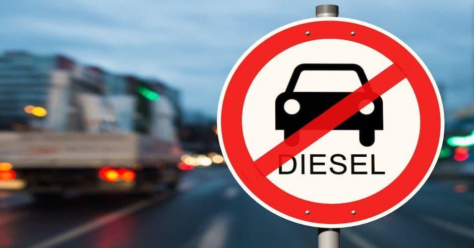 letrero de no diesel