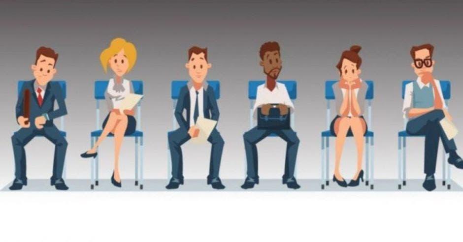 dibujo de personas sentadas esperando una entrevista laboral