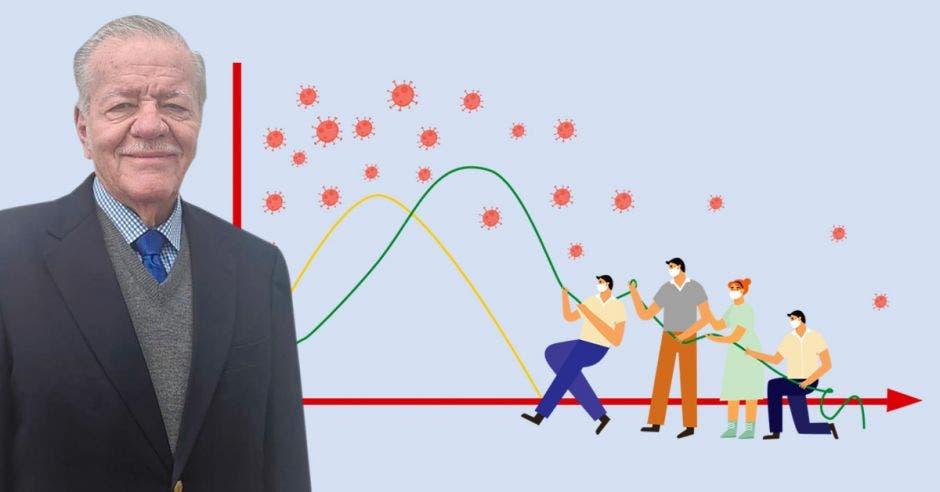 Ronald Evans y un dibujo representando personas bajando la curva