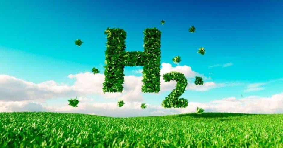 una h2 color verde sobre el fondo de un cielo azulado