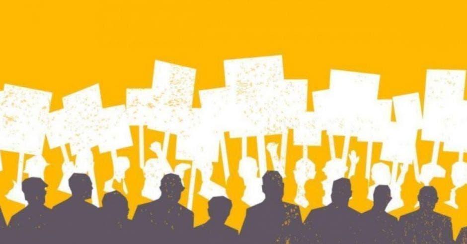 fondo amarillo con dibujos de personas manifestándose y sombras grises