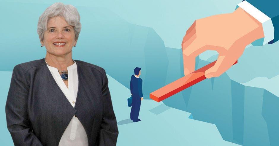 Mujer frente a arte de mano haciendo puente a empresario