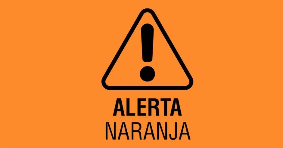 Un símbolo de alerta naranja
