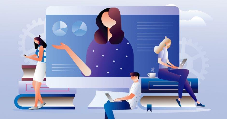 Un dibujo de unas personas usando dispositivos para leer.