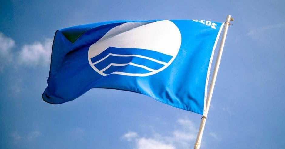 una bandera azul en una playa