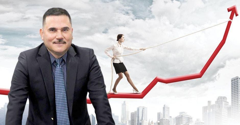 Hombre de traje y corbata frente a mujer sosteniendo flecha
