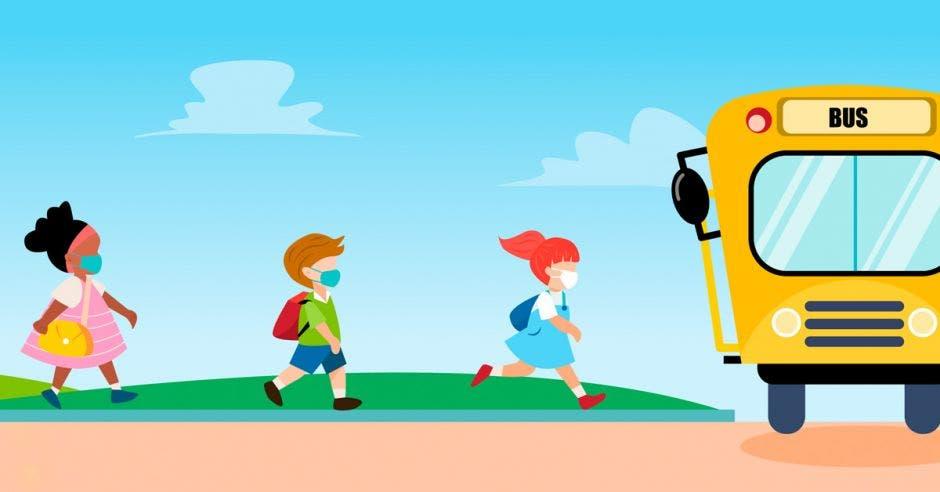 Un dibujo de unos niños caminando hacia el autobús escolar