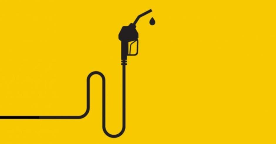 fondo amarillo y dibujo de dispensador de gasolina