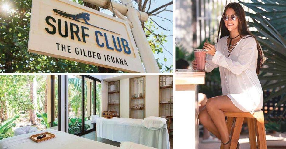 un collage que incluye a una mujer, un letrero y una sala de masajes