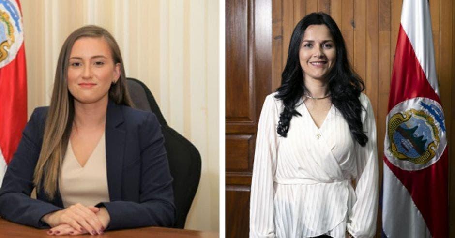 Dos mujeres divididas por una pequeña viñeta blanca