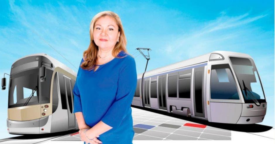 Mujer vestida de azul junto a diseños de trenes