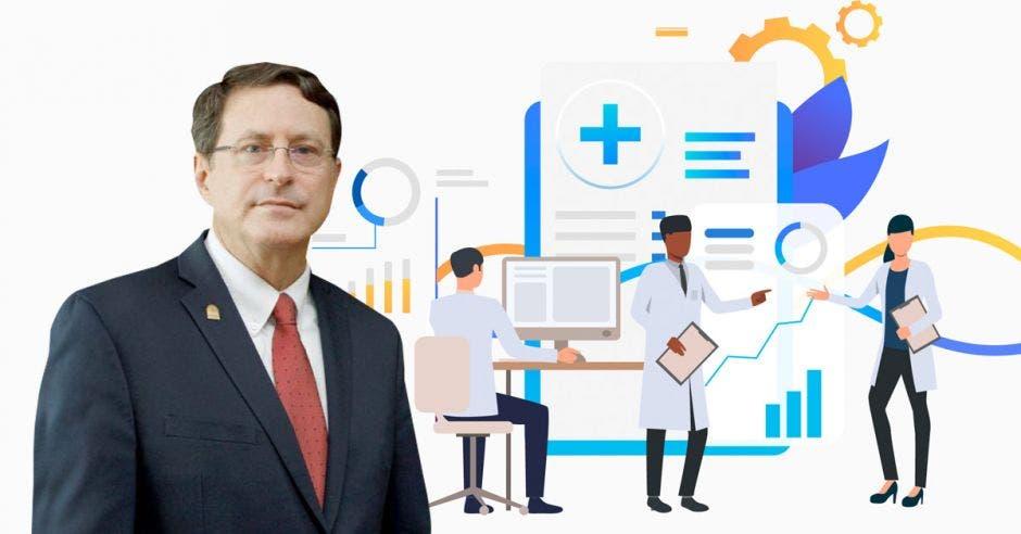Román Macaya, presidente ejecutivo. Y un dibujo de investigaciones médicas