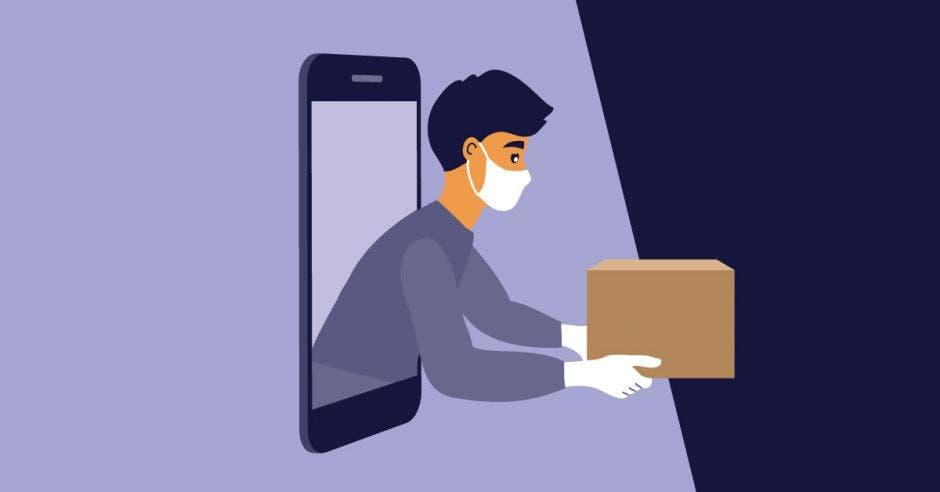 un hombre con mascarilla entrega un paquete