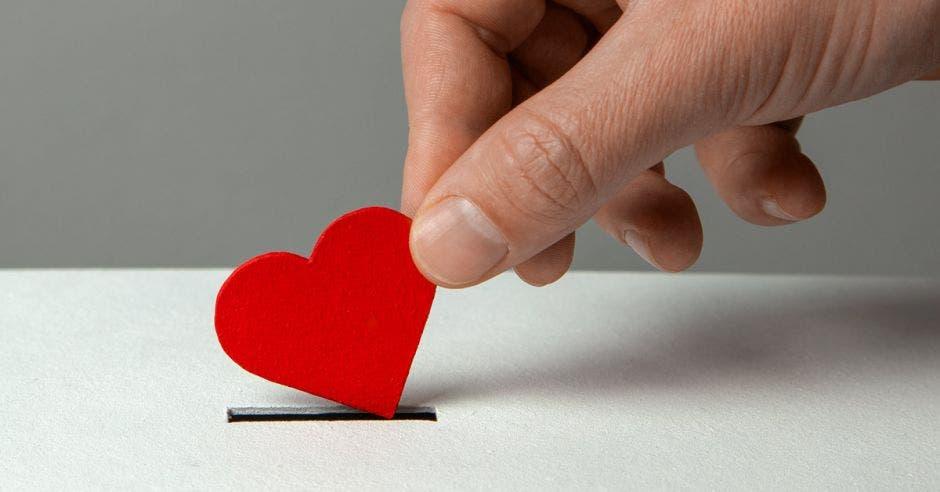 La mano del hombre pone el corazón en la ranura de donación
