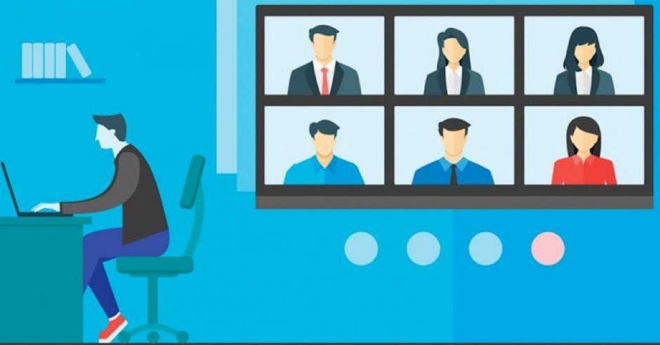 dibujo de persona sentada frente a laptop junto a pantalla con reunión virtual