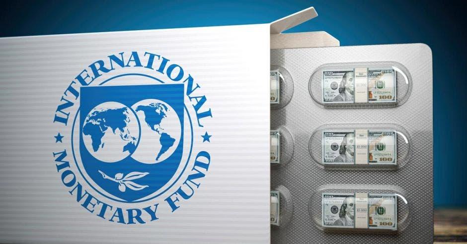 Pastillas en cápsula en forma de dinero y logo del FMI
