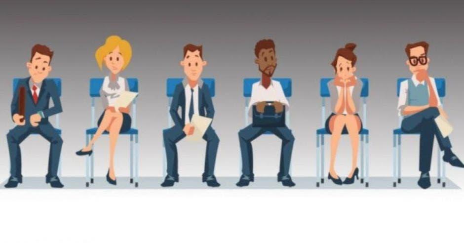 ilustración de personas sentadas esperando una entrevista de trabajo