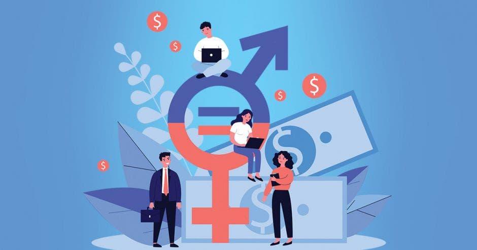 Un dibujo que representa igualdad de salario