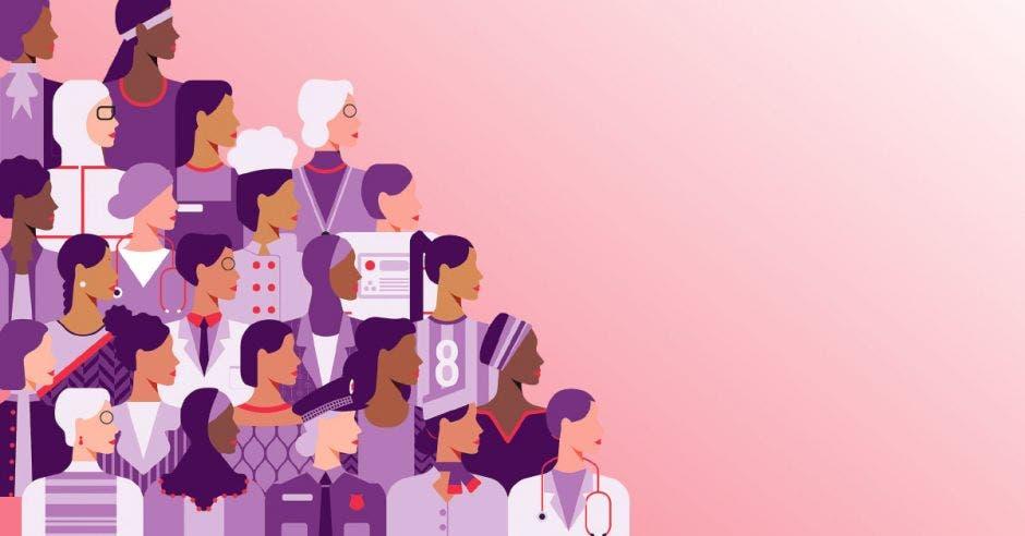 un grupo de mujeres de diferentes profesiones sobre un fondo color rosa