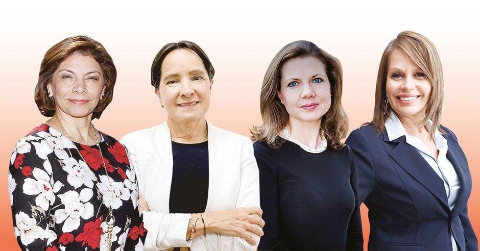 cuatro mujeres sobre fondo rosa claro
