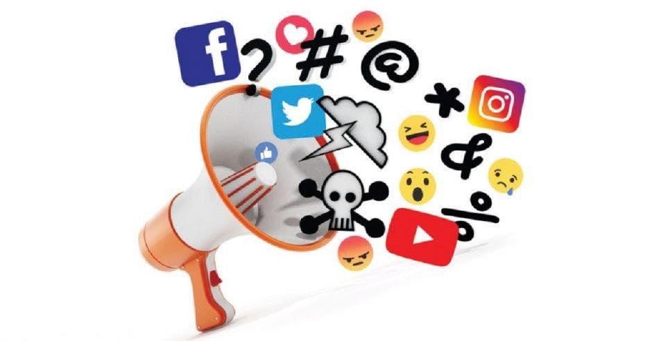Un dibujo de un altoparlante con íconos de redes sociales