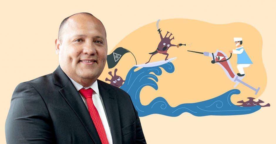 Mario Ruiz y un dibujo de un ola pandémica y una vacuna