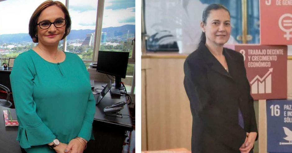 dos mujeres, una de blaser verde y otra de blaser negro, posan en una oficina