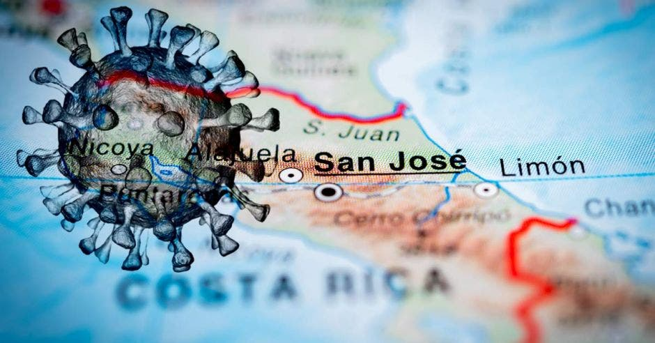 Un mapa de Costa Rica ubicando a San José y una figura del Covid-19