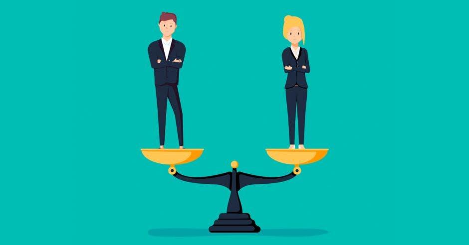dibujos de hombre y mujer sobre balanza en equilibrio