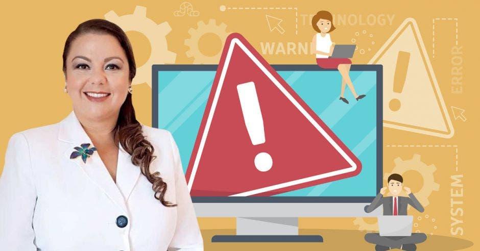 Mujer frente a computadora con alerta