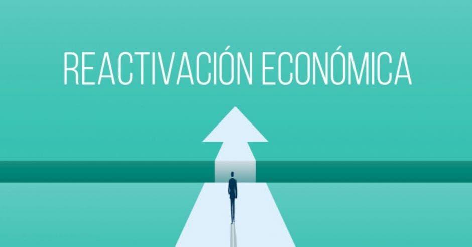 dibujo de persona caminando directo sobre una flecha y la palabra reactivación económica arriba