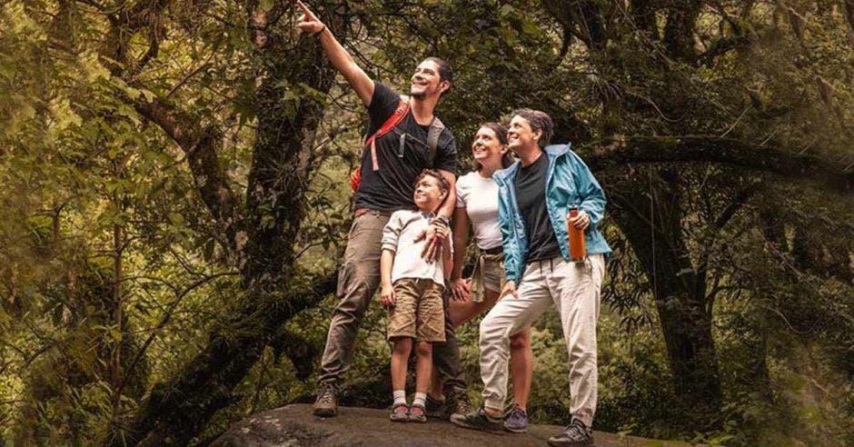 un grupo de personas en un bosque, señalando el horizonte