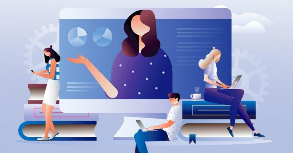 Personas estudiando en línea
