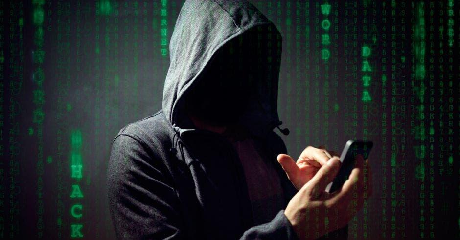 Persona con capucha viendo el celular