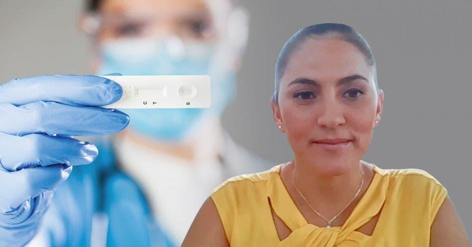 Angie Cervantes y una imagen de una persona sosteniendo una prueba rápida para detectar Covid-19