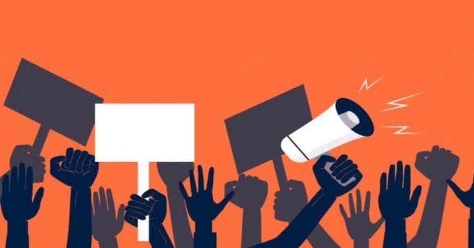 dibujos de brazos levantados en protesta sobre fondo naranja