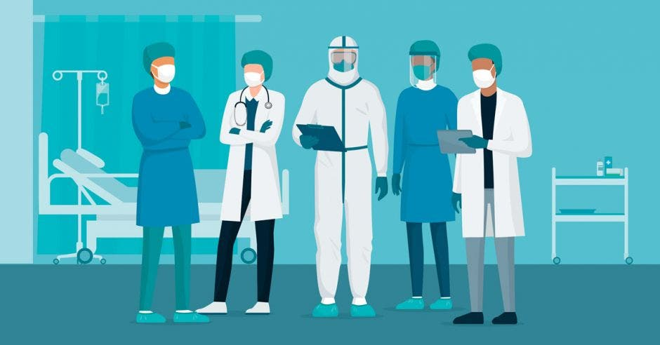 Un dibujo de varias personas funcionarias del sector salud