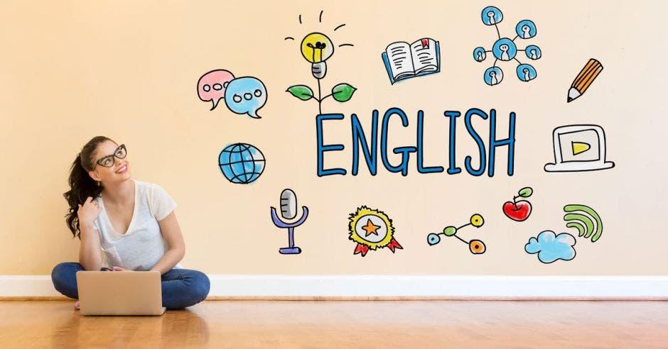 Una mujer con una laptop sentada en el suelo y en la pared se lee la palabra: english