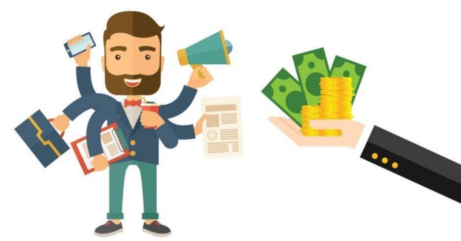 dibujo de hombre haciendo multitareas junto a brazo sosteniendo dinero