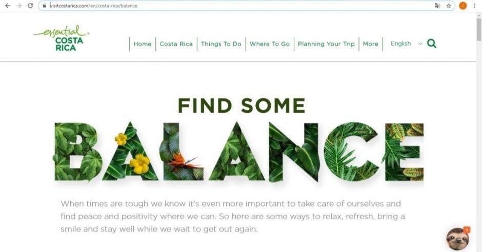 pantalla desplegada de un sitio web con la leyenda Find Some Balance