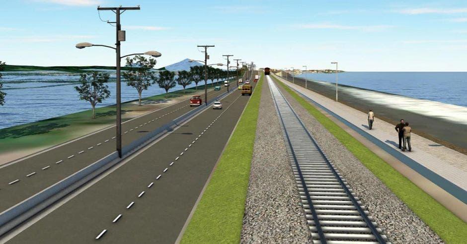 Render donde muestra los cuatro carriles, aceras, ciclovía y la línea del tren que concluirán en la entrada a Puntarenas