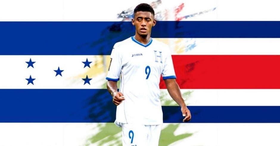 jugador de futbol de fondo banderas de Honduras y Costa Rica