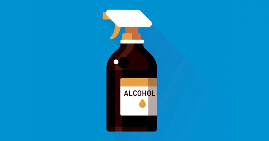 una botella de alcohol sobre un fondo azul