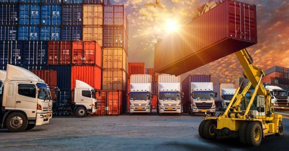 contenedores de exportación y vehículos de transporte