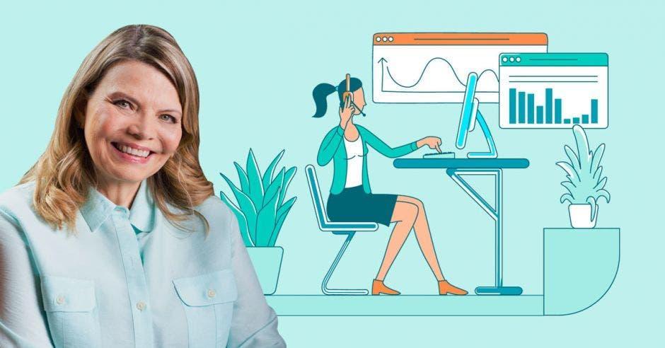 mujer de cabello rubio con blusa azul de fondo dibujo de mujer sentada trabajando