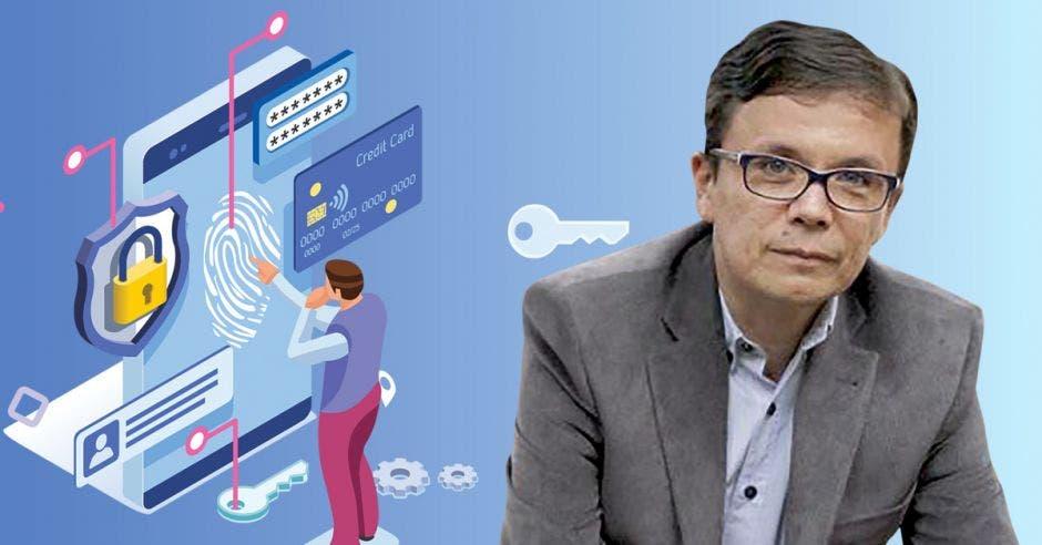 Pablo Masís y de fondo un dibujo de una persona haciendo un sitio de Internet seguro
