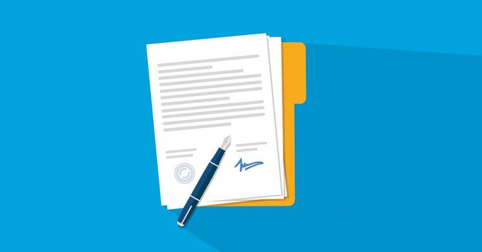 Un dibujo de un documento con un lapicero