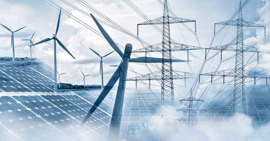 Arte con tendido eléctrico, aspas de plantas eólicas y paneles solares