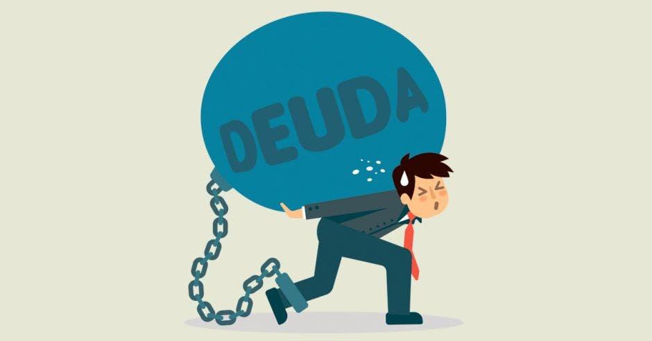 Persona sostiene gran bola que dice deuda